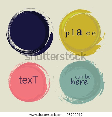 set of 4 different grunge circles design elements. vector illustration