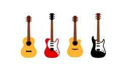 Set of different guitars - acoustic, electric, bass. Simplified representation of stringed musical instruments. Group of icons in modern flat style.