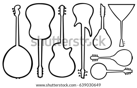 set of different guitars isolated #639030649