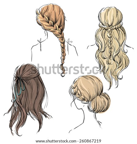 set of different hairstyles