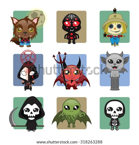set of 9 different halloween