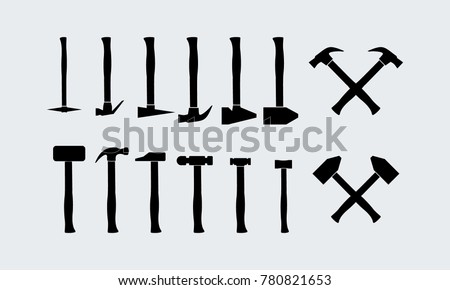 Set of Different Hammer Silhouette vector