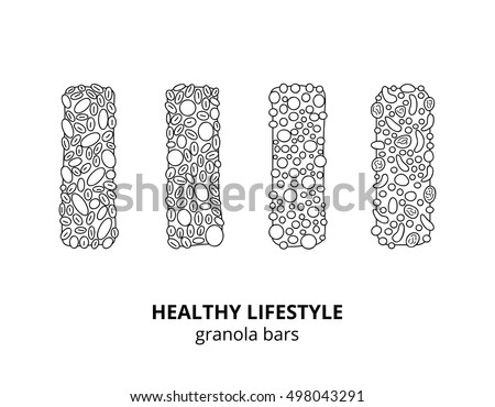 Set of different hand drawn outline granola bars isolated on white background.