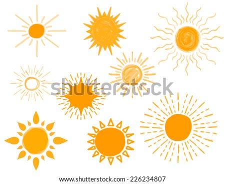 Set of Different Hand Drawn Sun Sketch, Vector Illustration