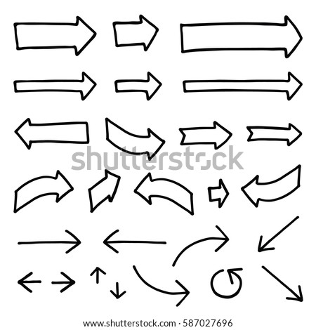 Set of different hand-drawn vector arrows. Black color, bold thickness of outline. Perfect for presentations and concept introduction. #587027696