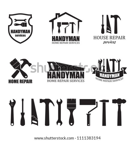 Set of different handyman services icons, isolated on white background. For logo, label or banner