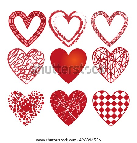 set of different hearts. Set of red heart with lines