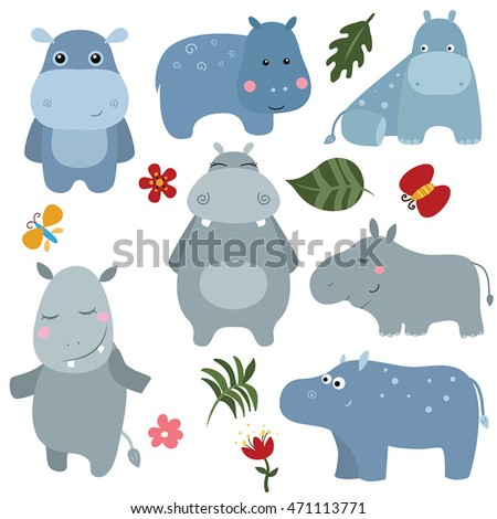 Set of different hippos on white background.