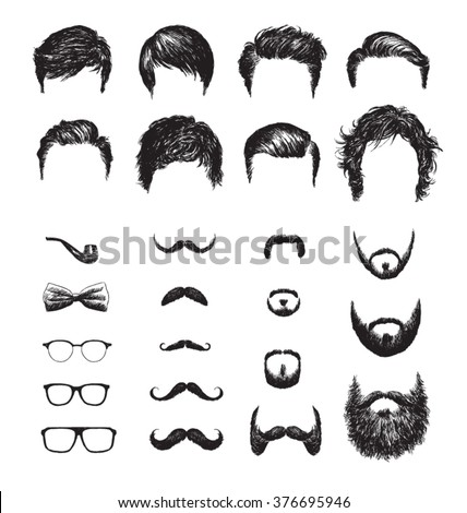set of different hipster...
