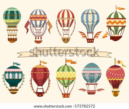 Set of different hot air balloons. Flying vintage transport with wings and flags, ballast on basket and striped balloon. Old airship sport and retro travel banner, tourism and recreation, outdoor trip