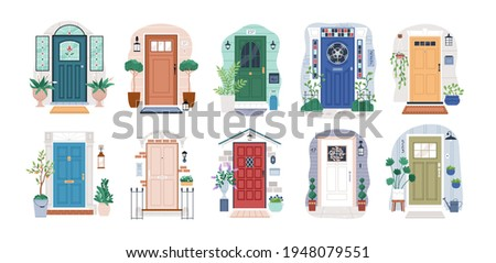 Set of different house entrances, porches and closed doors. Entries to apartments with potted plants, mats, lamps and letterboxes. Colored flat vector illustration isolated on white background Stock photo ©