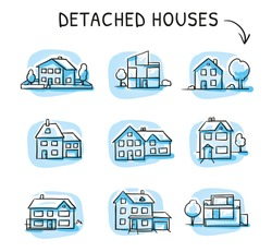 Set of different houses, detached, single family houses modern and traditional with gardens and garage, icons on blue tiles. Hand drawn cartoon sketch vector illustration, marker style coloring.