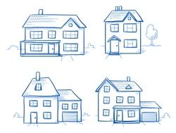 Set of different houses, detached, single family houses with gardens and garage. Hand drawn cartoon vector illustration.