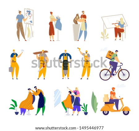 Set of Different Human Professions and Job Occupations. Painter Dress Designer Sculptor Architect. Road Repair Workers. Food and Parcel Delivery. Barber Hairstylist. Cartoon Flat Vector Illustration