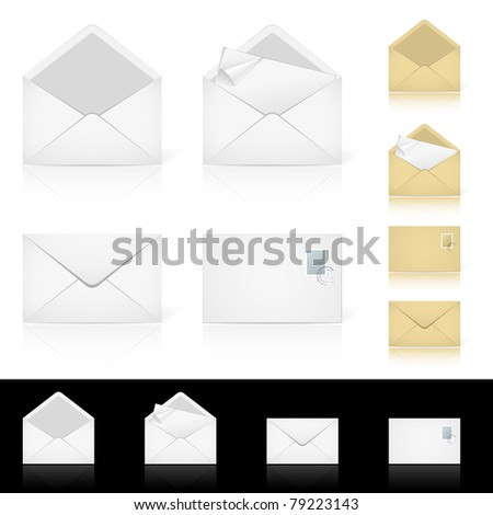 Set of different icons for e-mail. Illustration for design on white background