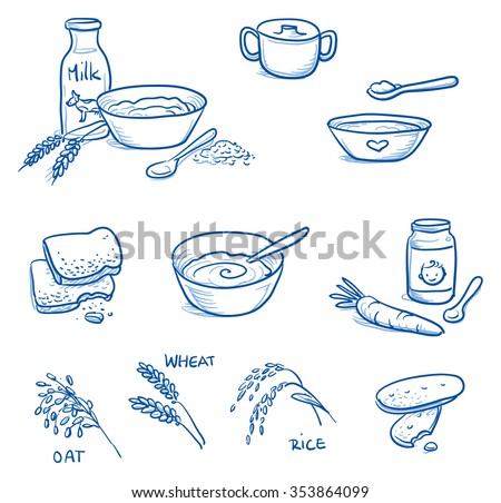 Set of different icons for preparing baby baby food. With milk, bowl, spoon, biscuit, cereals . Hand drawn cartoon vector illustration.
