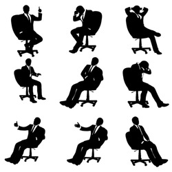 set of different illustrations of sitting businessman