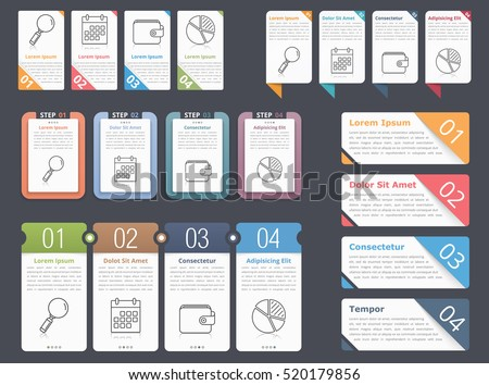 Set of different infographic elements with numbers, line icons and place for your text, can be used as workflow, process, steps or options, vector eps10 illustration