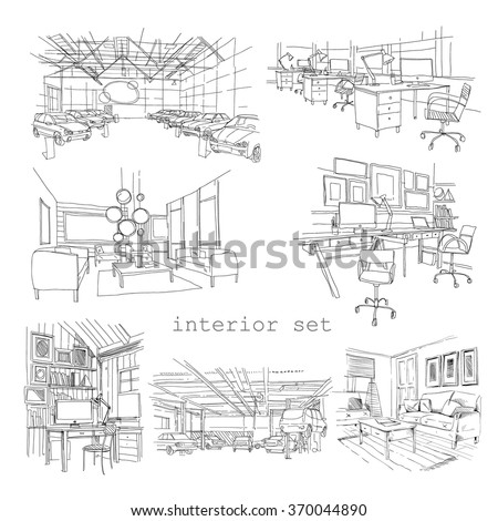 Set of different interior hand drawn sketch, vector illustration