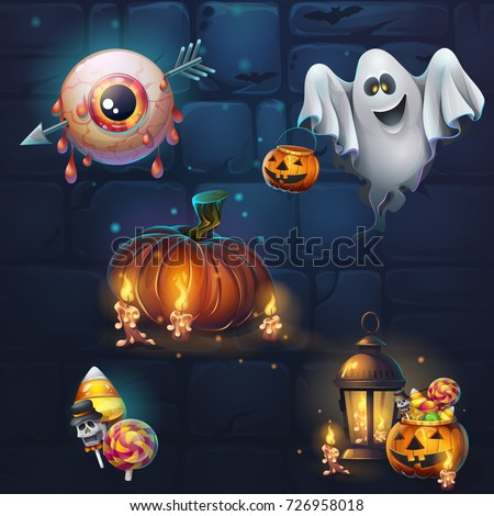 Set of different items for game user interface. Vector background cartoon illustration to the computer game for theme Halloween. Background image to create original video or web games, graphic design