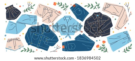 Set of different jeans clothes vector flat illustration. Collection of stylish denim shirt, trousers, jacket, shorts and skirt isolated. Trendy modern cotton clothing, street style wear Stockfoto ©