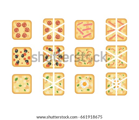 Set of different kind of square pizza with white background. Flat vector illustration of full and sliced pizza with square form. Pizza with bacon, cheese, eggs, olive, sausage, basil, provencal herbs