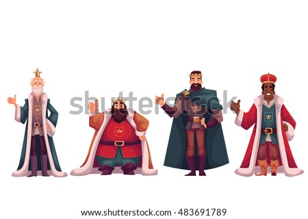 set of different kings wearing