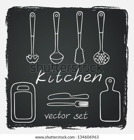 Set of different kitchen utensils on chalkboard background. Vector illustration.