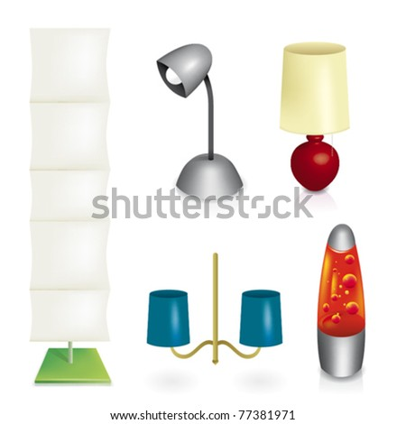 Set of different lamps in vector illustration