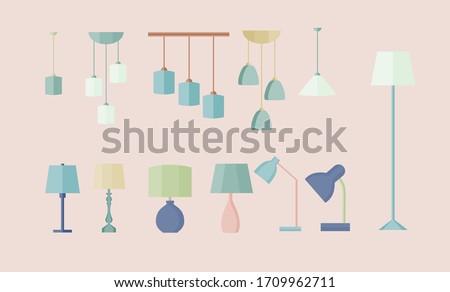 Set of different lamps. Vector. Flat design. Table lamp, floor lamp, ceiling lamp, chandelier. Photo stock ©