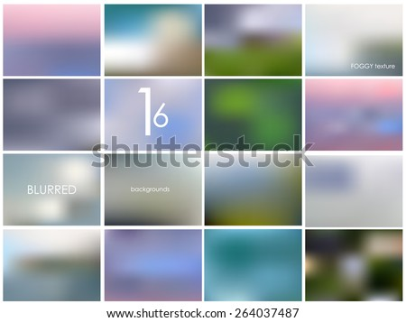 Set of 16 different landscape blurred backgrounds. Vector eps10. Set No.13