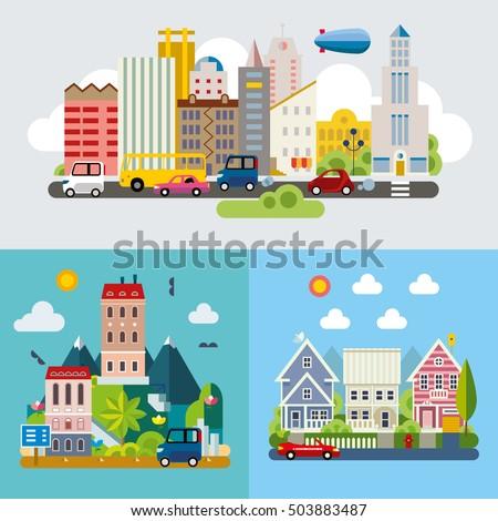 set of different landscapes in...