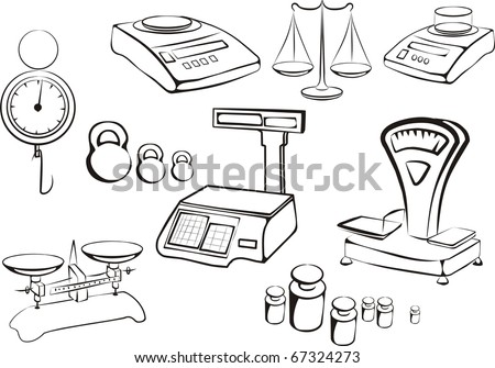 set of different libra and  weight measuring instruments, tools in black lines sketch