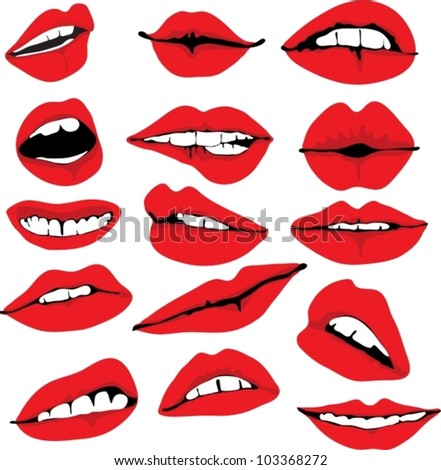 Set of different lips,vector illustration