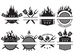 Set of different logos of the grill master. Collection of the shield emblem on fire with barbecue accessories paw, lard, tongs. Black and white vector illustration for food establishments. Chef logo.