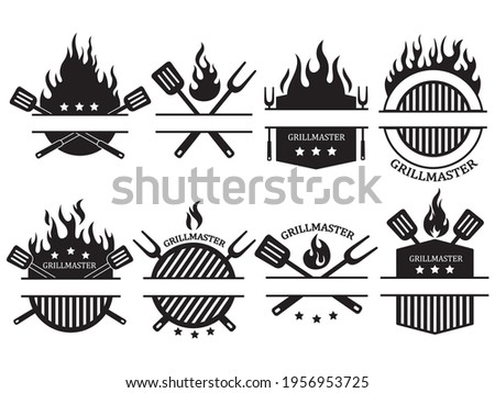 Set of different logos of the grill master. Collection of the shield emblem on fire with barbecue accessories paw, lard, tongs. Black and white vector illustration for food establishments. Chef logo. Zdjęcia stock ©