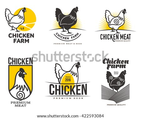 set of different logos with chicken. variety of labels with chicken meat products and eggs
