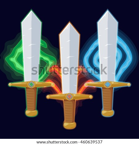 set of different magic swords