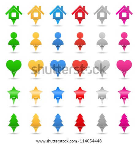 Set of different map markers, vector eps10 illustration