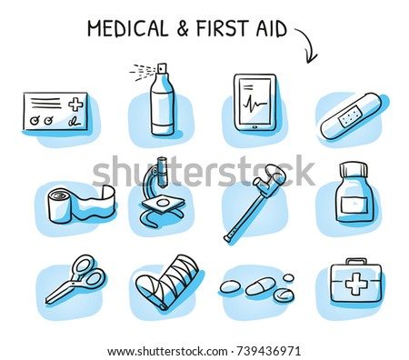 Set of different medical icons of wound care and treatments for medical info graphics on blue tiles. Hand drawn cartoon sketch vector illustration, marker style coloring.