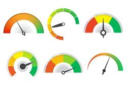 Set of different meter gauge element. Sustomer satisfaction meter collection. Set of level indicator icons