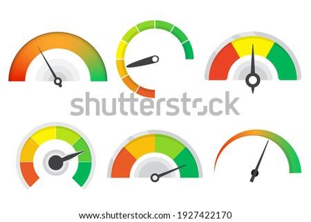 Set of different meter gauge element. Sustomer satisfaction meter collection. Set of level indicator icons Сток-фото ©
