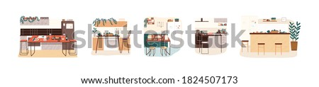 Set of different modern kitchen interiors vector flat cartoon illustration. Collection of furnishing cooking area in minimalist scandinavian style isolated. Comfortable hygge design