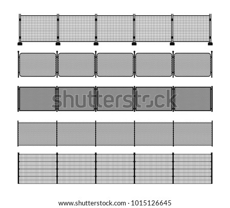 Set of different modular metal fence silhouettes. Horizontally seamless metal fence elements. Black silhouettes of metal wire, mesh, chain-link, portable fencing. Vector brushes included.