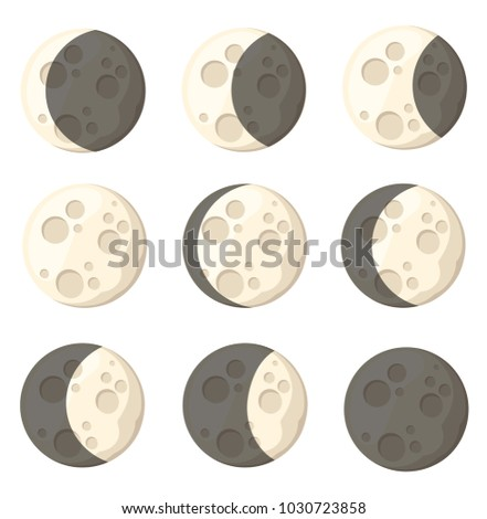 set of different moon phases