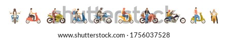 Set of different motorcycle and scooter riders vector flat illustration. Collection of various man, woman and couple drivers in helmets isolated on white background. People on motor transportation Stockfoto ©