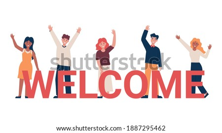 Set of different nationality people greeting gesture, waving hand. Concept new team member. Flat vector cartoon illustration. Photo stock ©