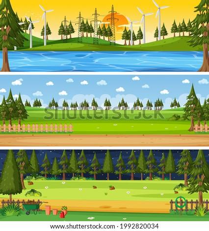 Set of different nature horizontal scenes illustration
