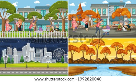 Set of different nature scenes background with people illustration