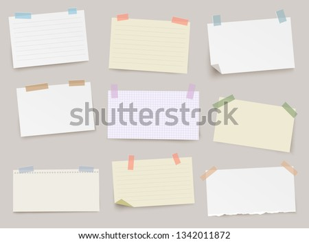 Set of different note papers with color adhesive tape on transparent background.